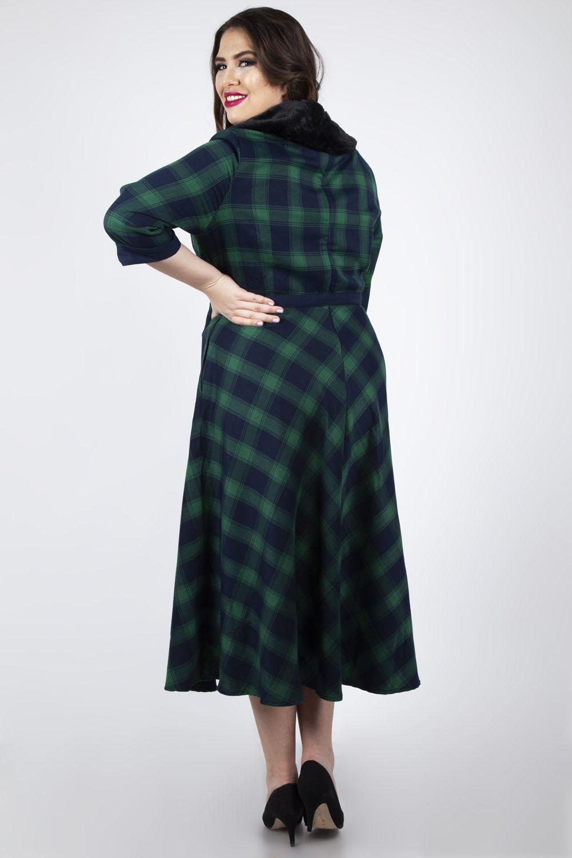DRA8291PL Voodoo Vixen Lola tartan flare dress Plus Size Retro UK Size 16 to 22