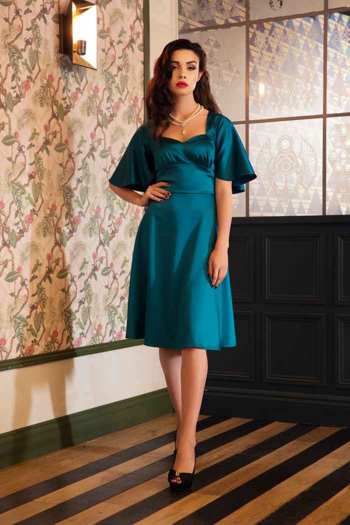 Harper Satin Cape Blue Dress