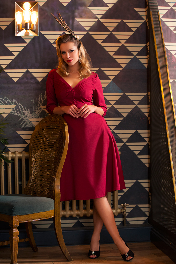Laura A-line Burgundy Dress