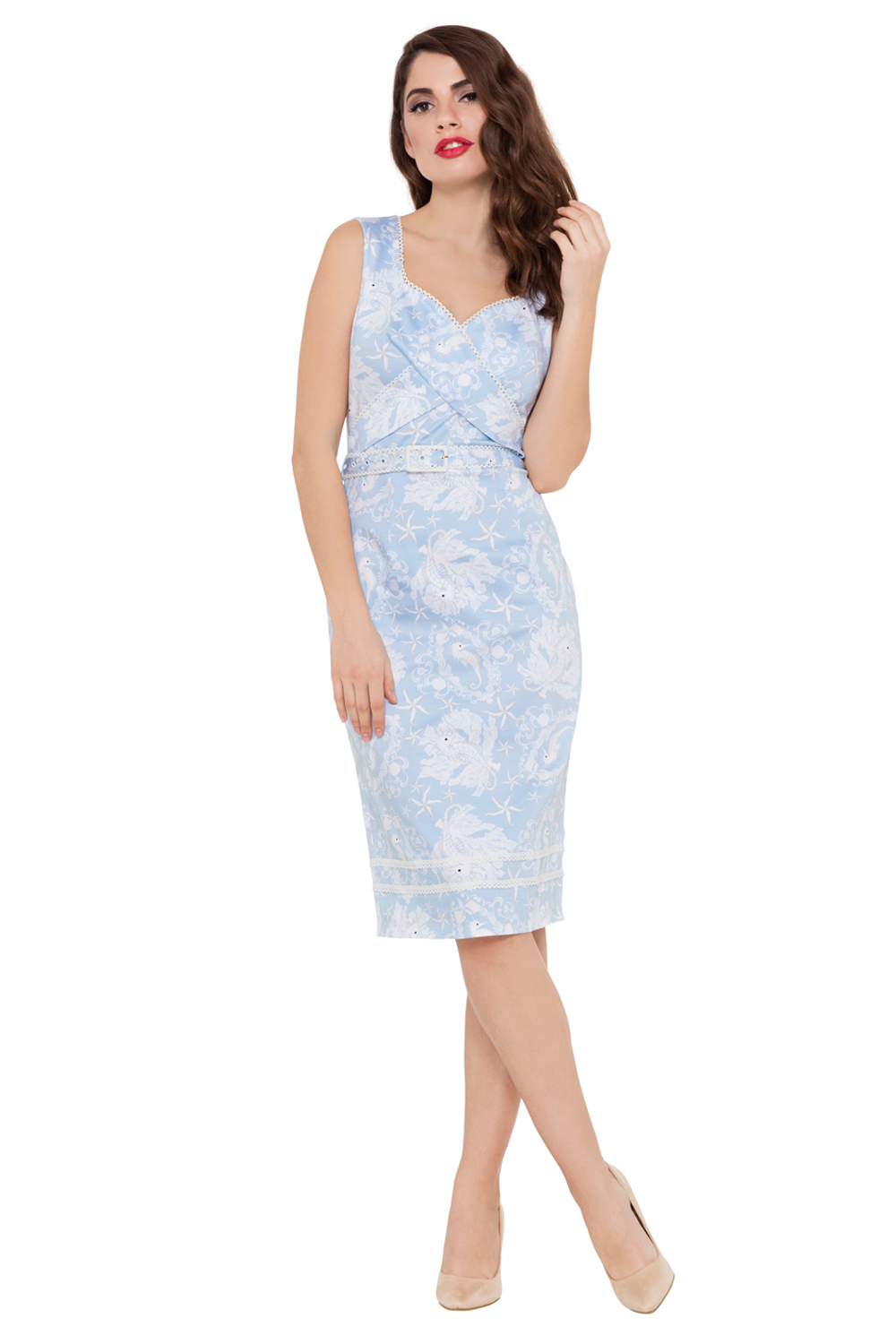 Ruth Blue Sailor Pencil Dress