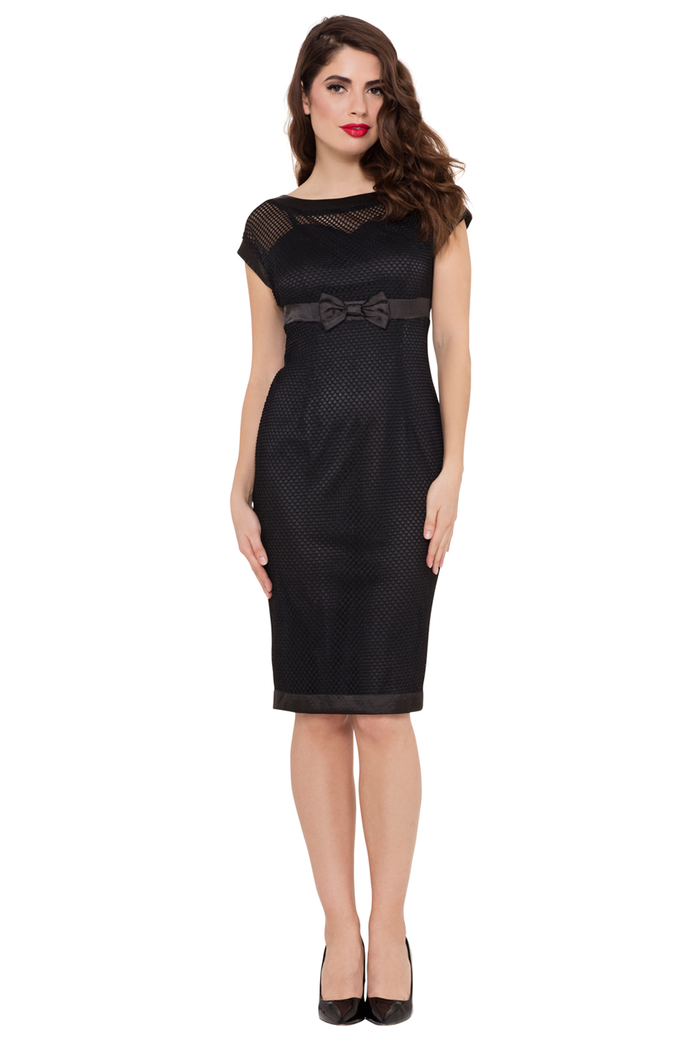 Lysa Black Mesh Wiggle Dress