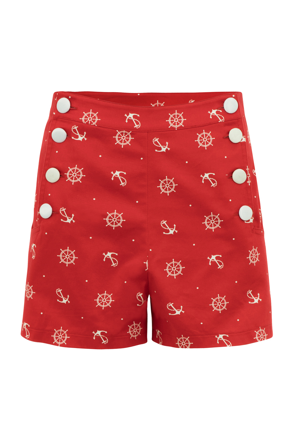 Sue Red Nautical High-Waist Shorts