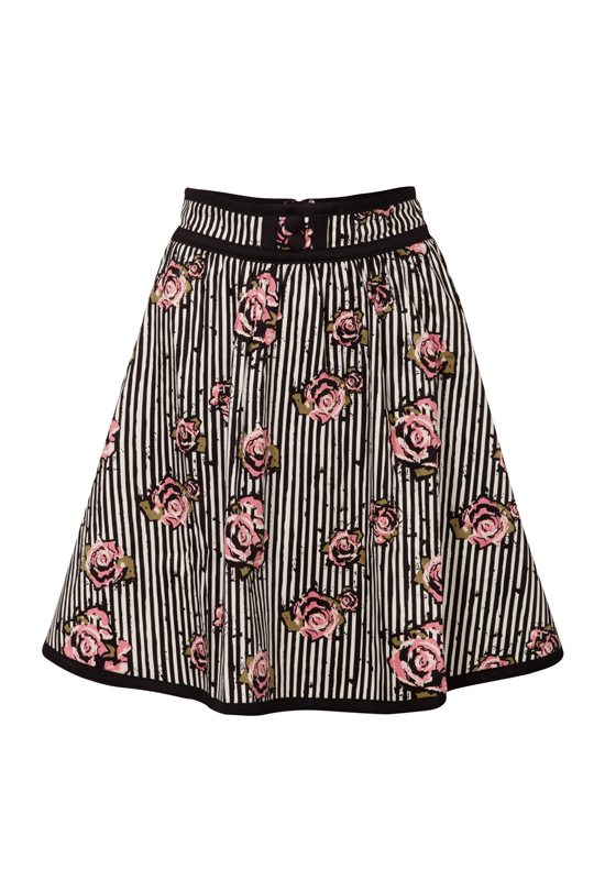 Josephine Floral and Pinstripe Skirt
