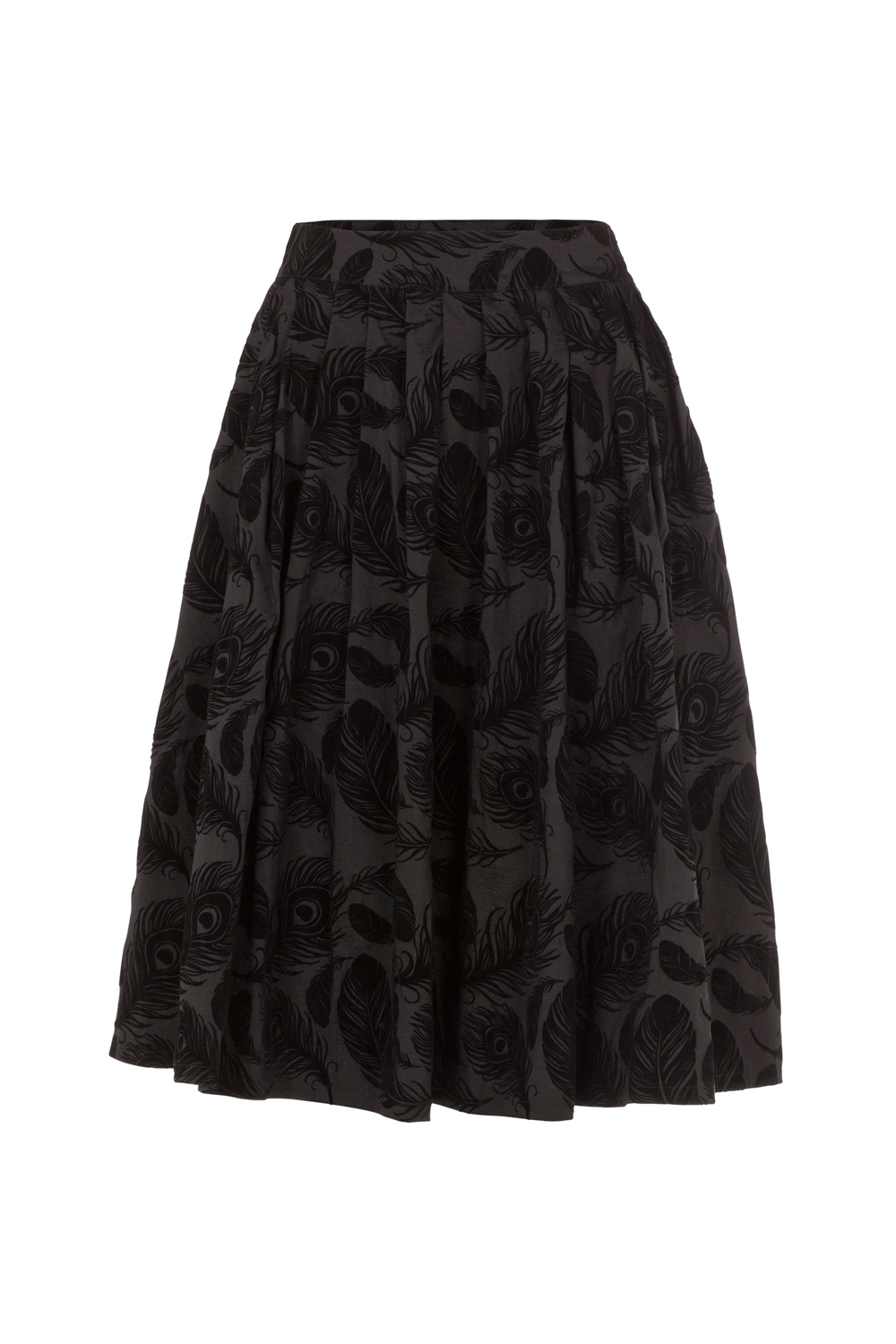 Andrea Flocked Feather Black Skirt