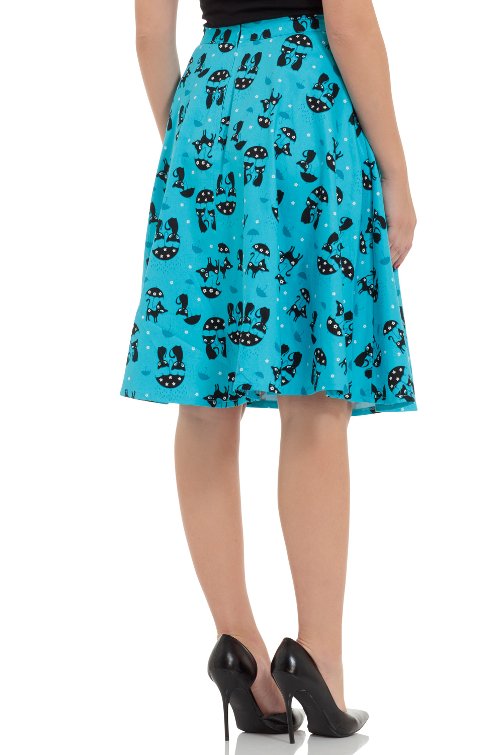 Morgana Blue Retro Kitty Skirt