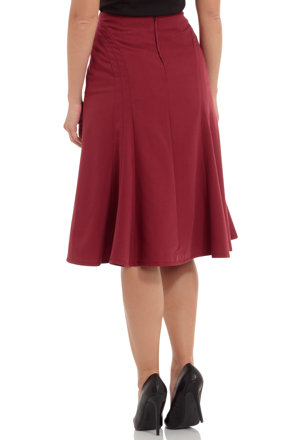 Amy Burgundy Bell Shape Skirt
