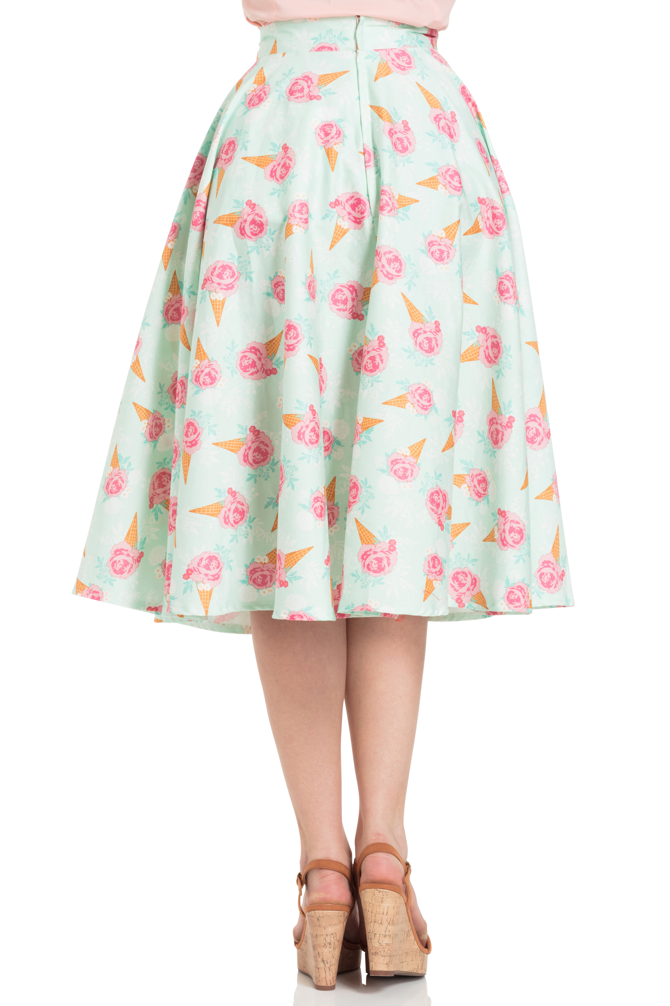 Amy Floral Ice Cream Print Skirt