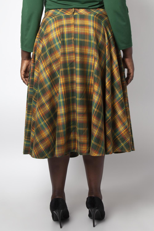 Bridget Plaid Full Circle Skirt in Green Tartan