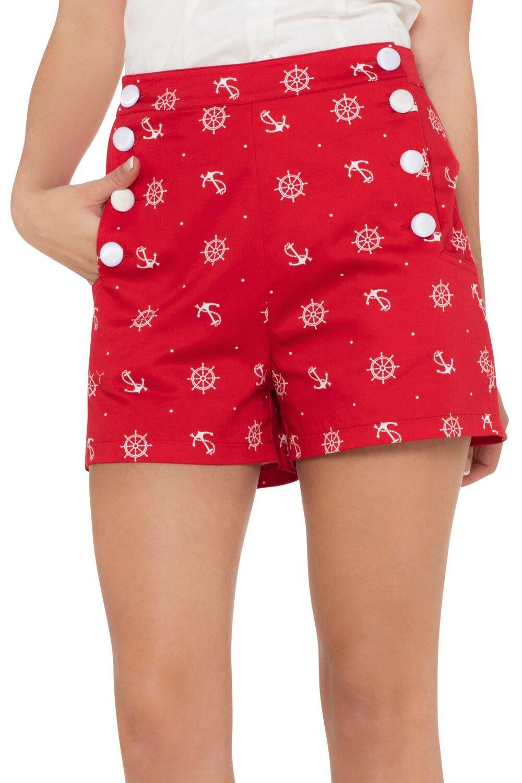 Sue Red Nautical High-Waist Shorts