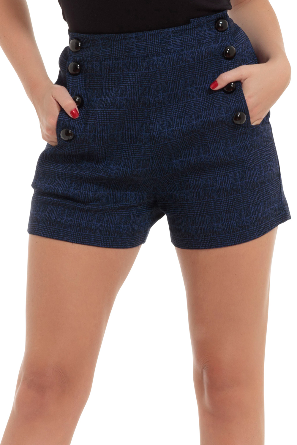 Jaquie High-Rise Checked Blue Shorts