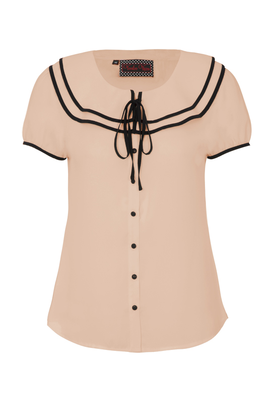 Arabella Beige Frilly Button Down Shirt