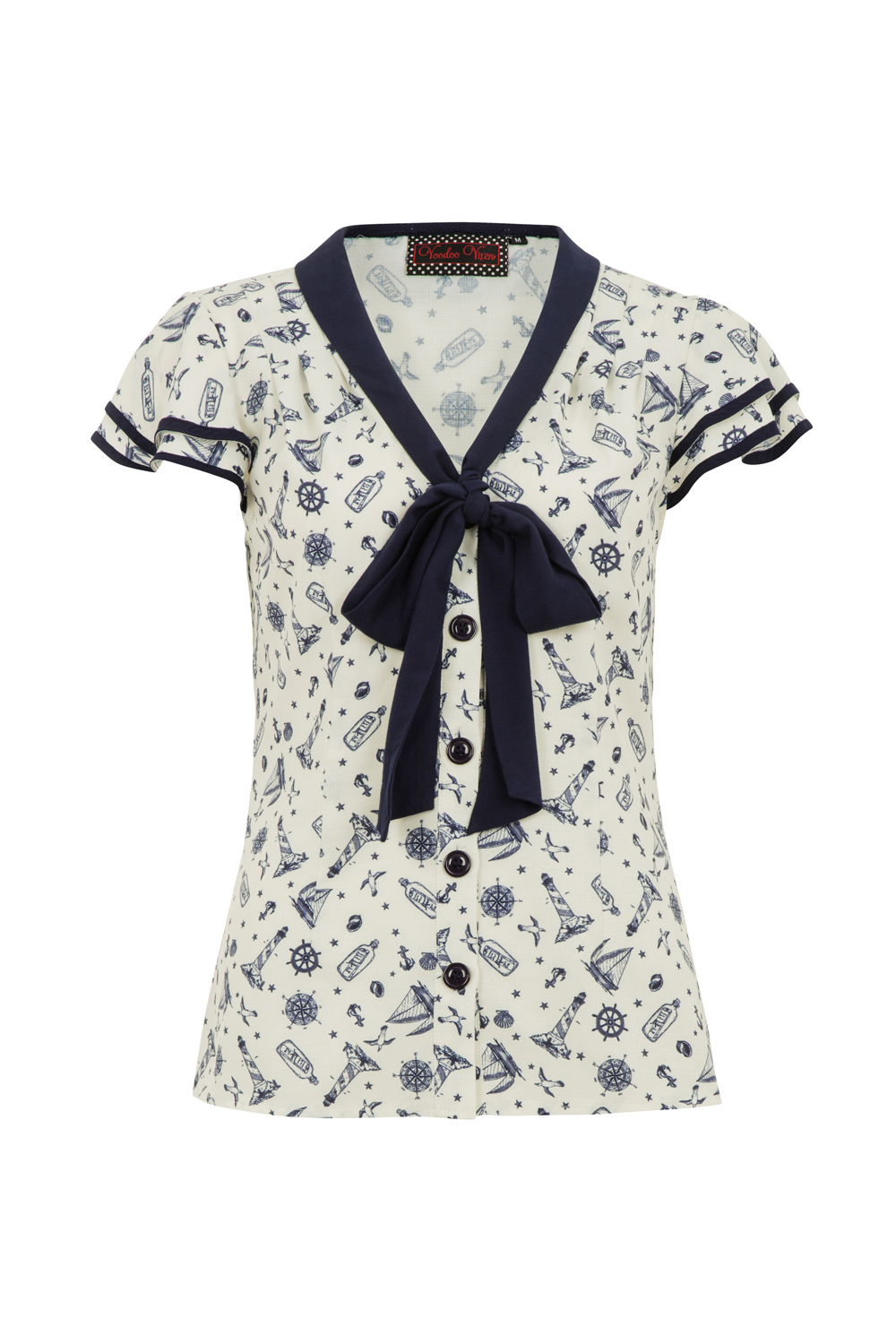 Jaimie Nautical Front Tie Top