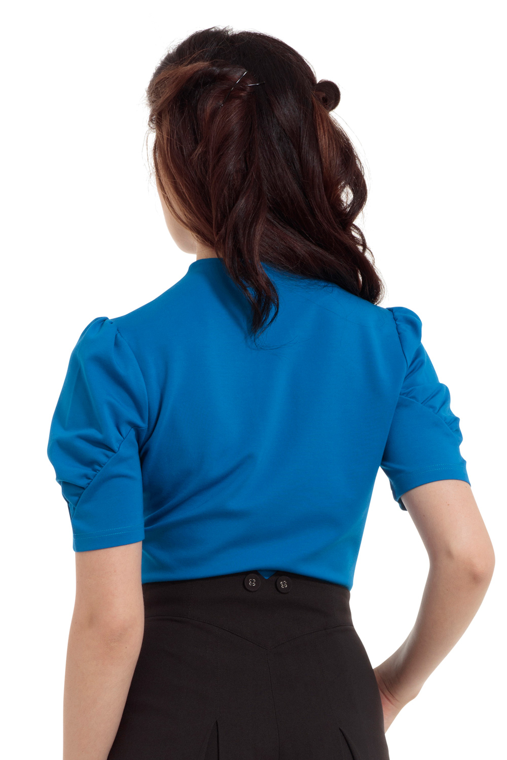 Dita Blue Keyhole Cut-out Top