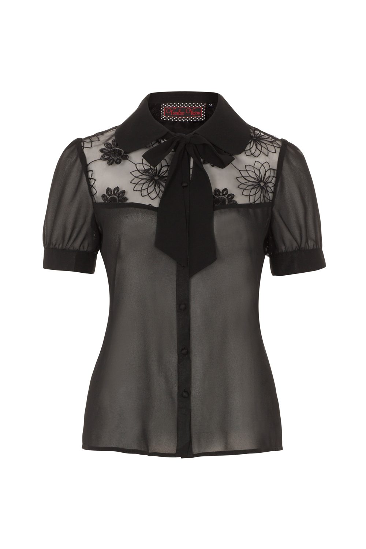 Leah Sheer Black Floral Blouse