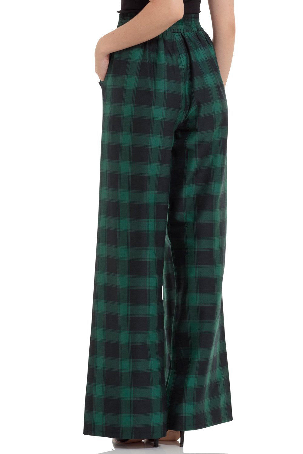 Carrie Green Tartan Flared Trousers