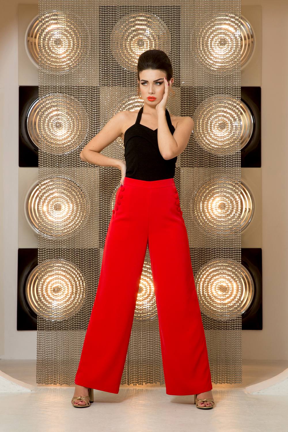 Teddy Wide Leg Red Trousers