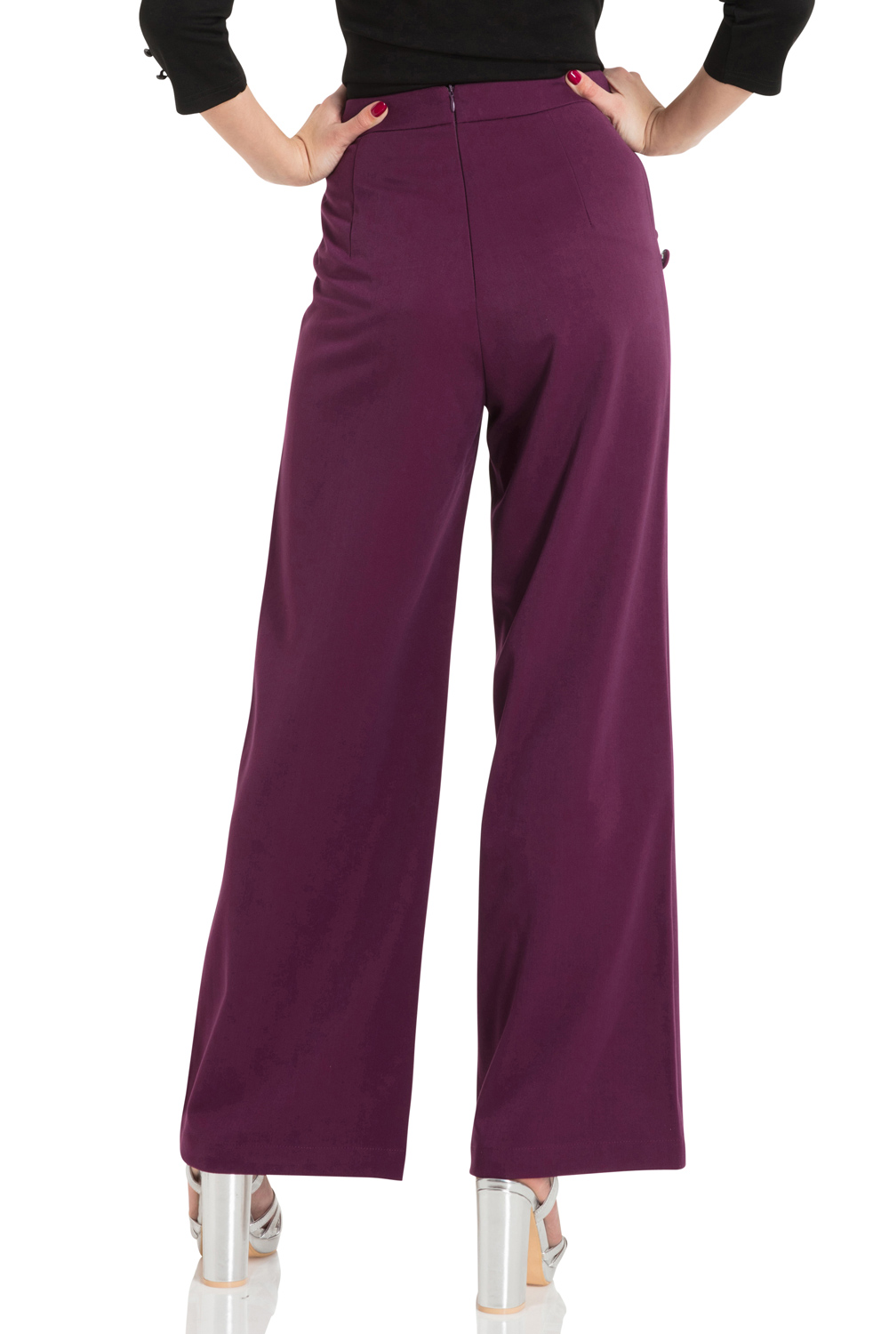 Stacey Purple 40s Style Trousers