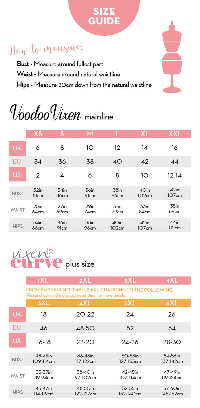 Image result for voodoo vixen size chart